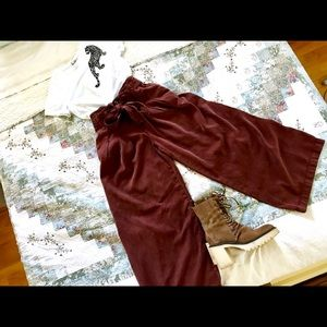 Free People Tied High Waisted Wide Leg Pant